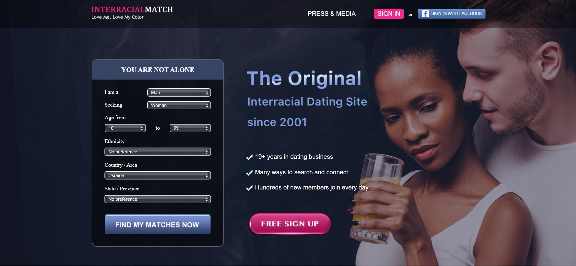 InterracialMatch main page